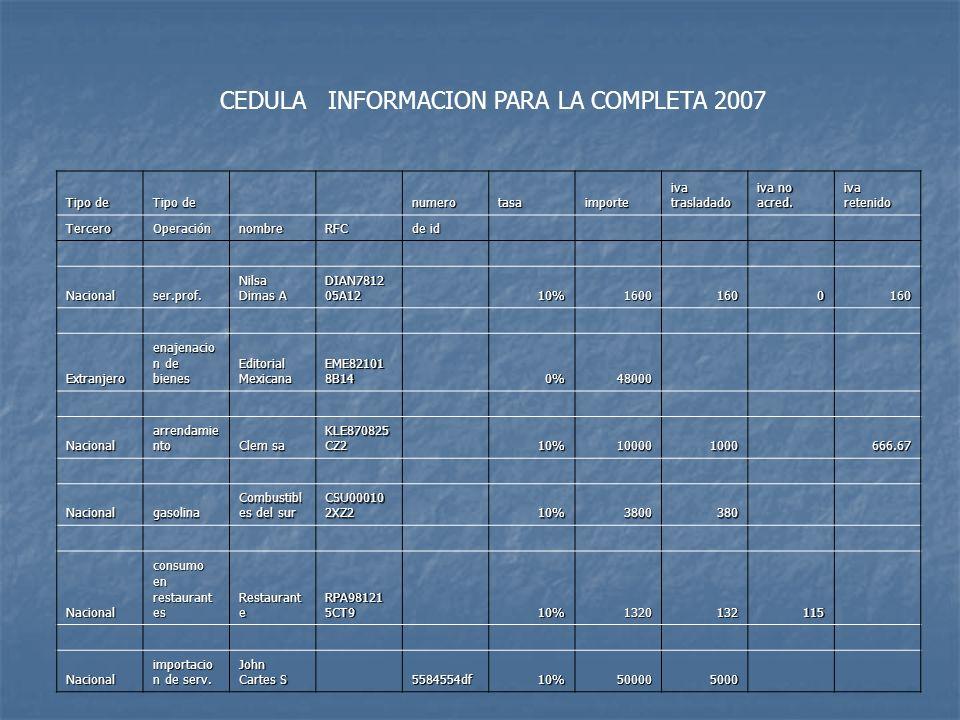 CEDULA INFORMACION PARA LA COMPLETA 2007