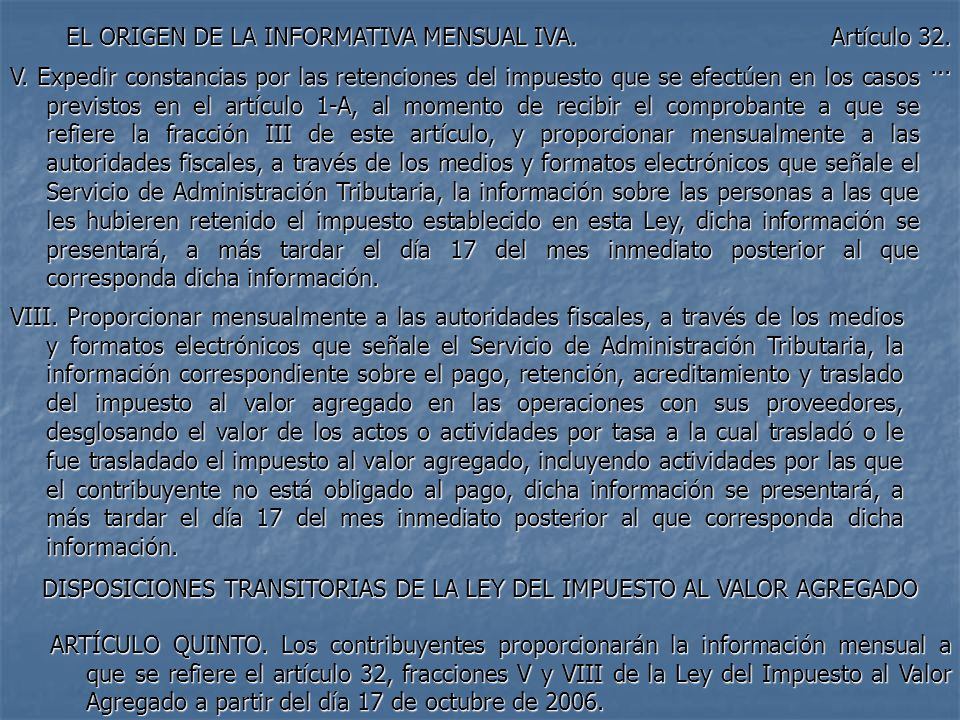 DISPOSICIONES TRANSITORIAS DE LA LEY DEL IMPUESTO AL VALOR AGREGADO