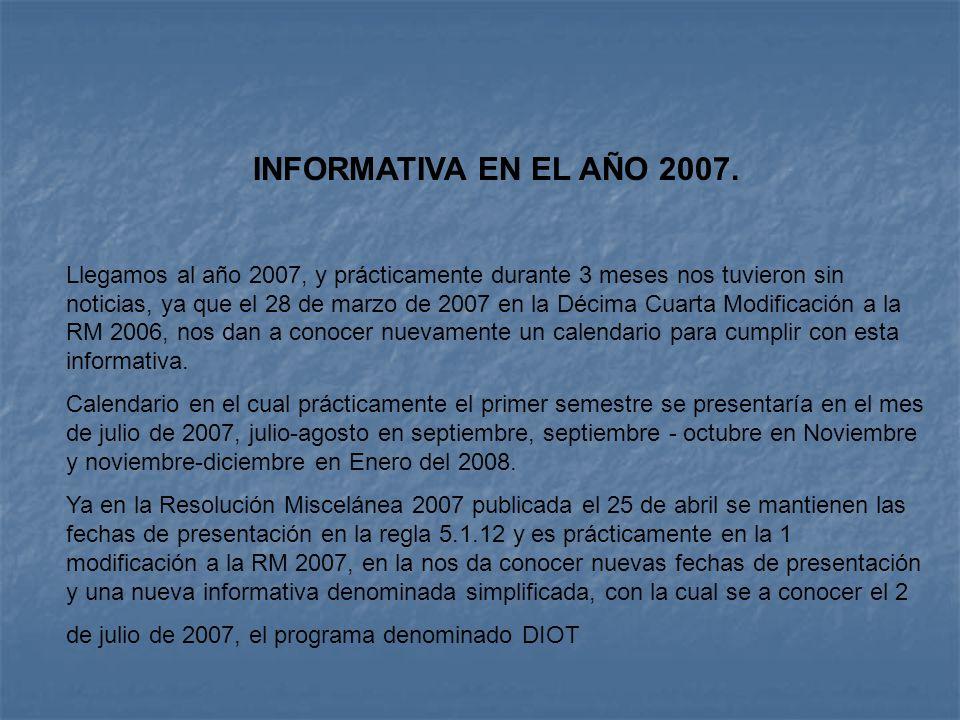 INFORMATIVA EN EL AÑO 2007.