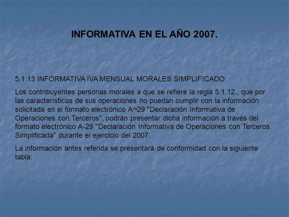 INFORMATIVA EN EL AÑO 2007. 5.1.13 INFORMATIVA IVA MENSUAL MORALES SIMPLIFICADO.