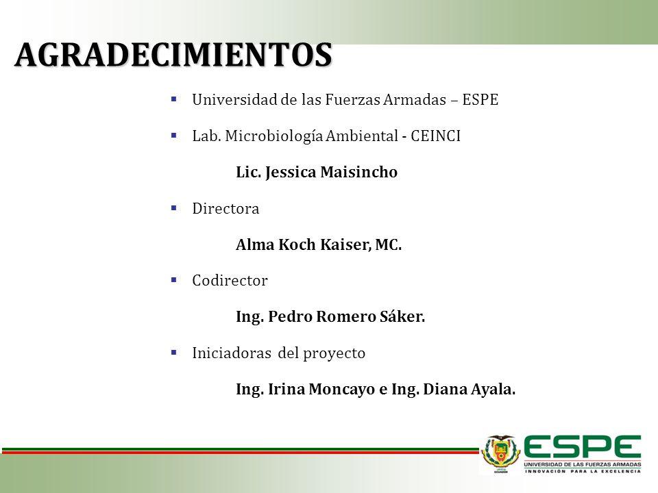 AGRADECIMIENTOS Universidad de las Fuerzas Armadas – ESPE