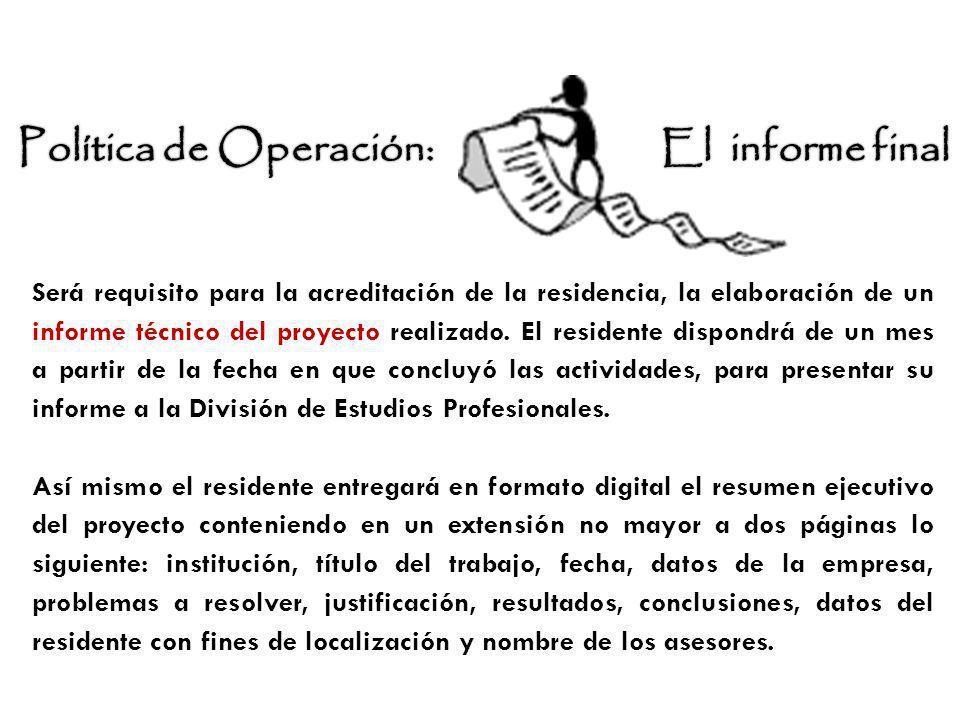 Política de Operación: El informe final