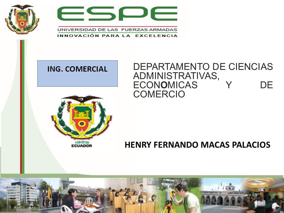 DEPARTAMENTO DE CIENCIAS ADMINISTRATIVAS, ECONOMICAS Y DE COMERCIO