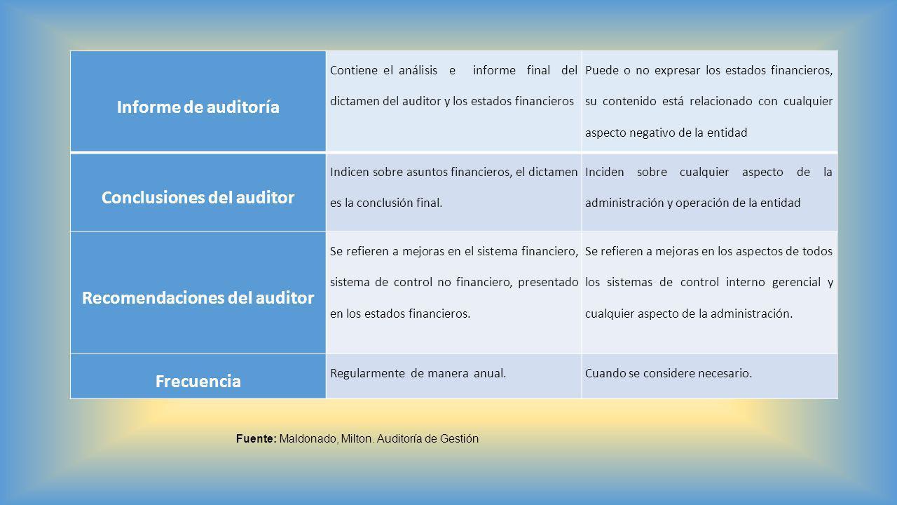 Conclusiones del auditor Recomendaciones del auditor