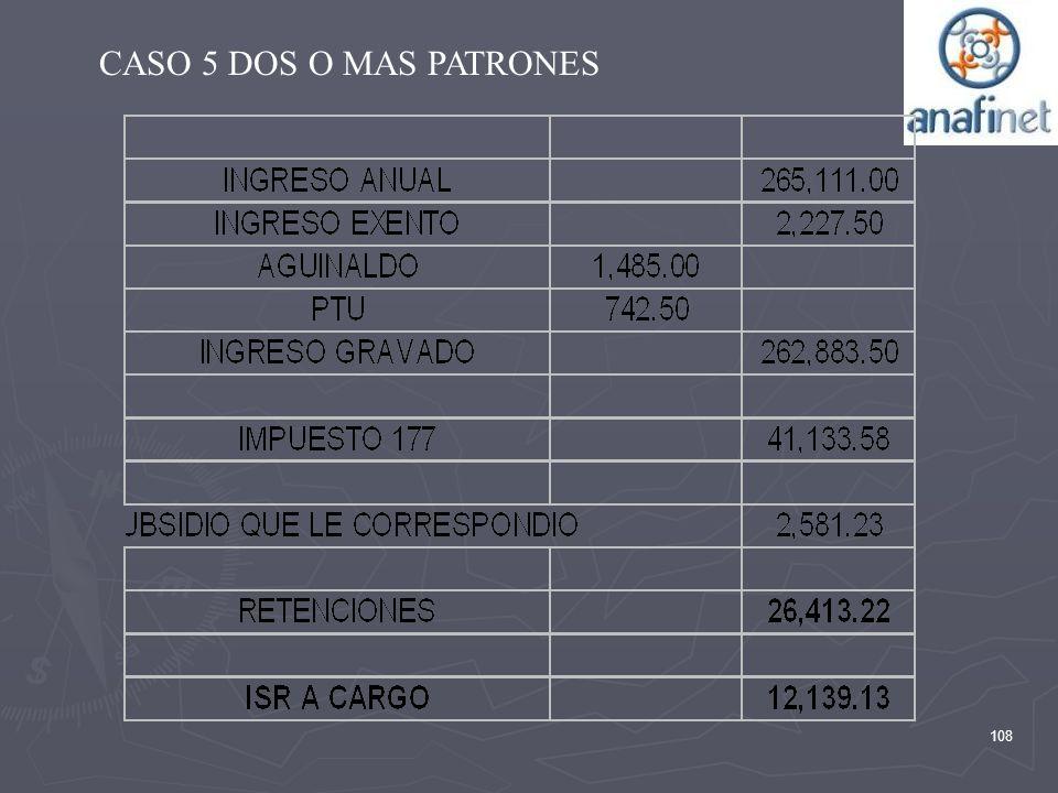 CASO 5 DOS O MAS PATRONES