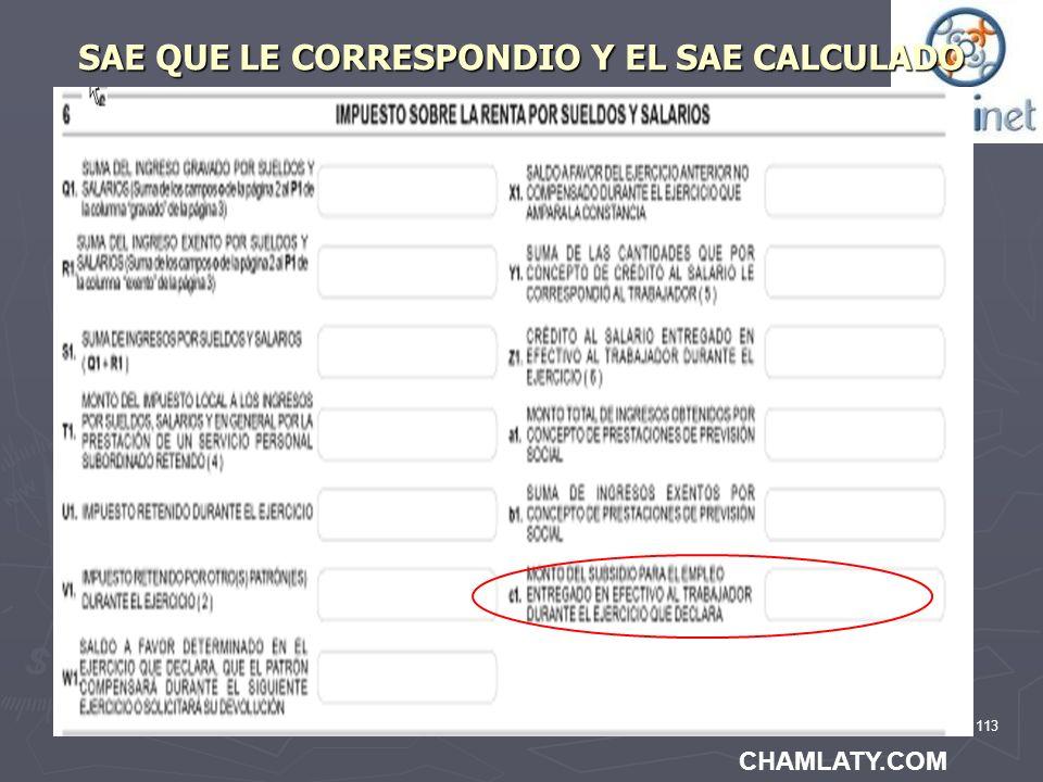 SAE QUE LE CORRESPONDIO Y EL SAE CALCULADO
