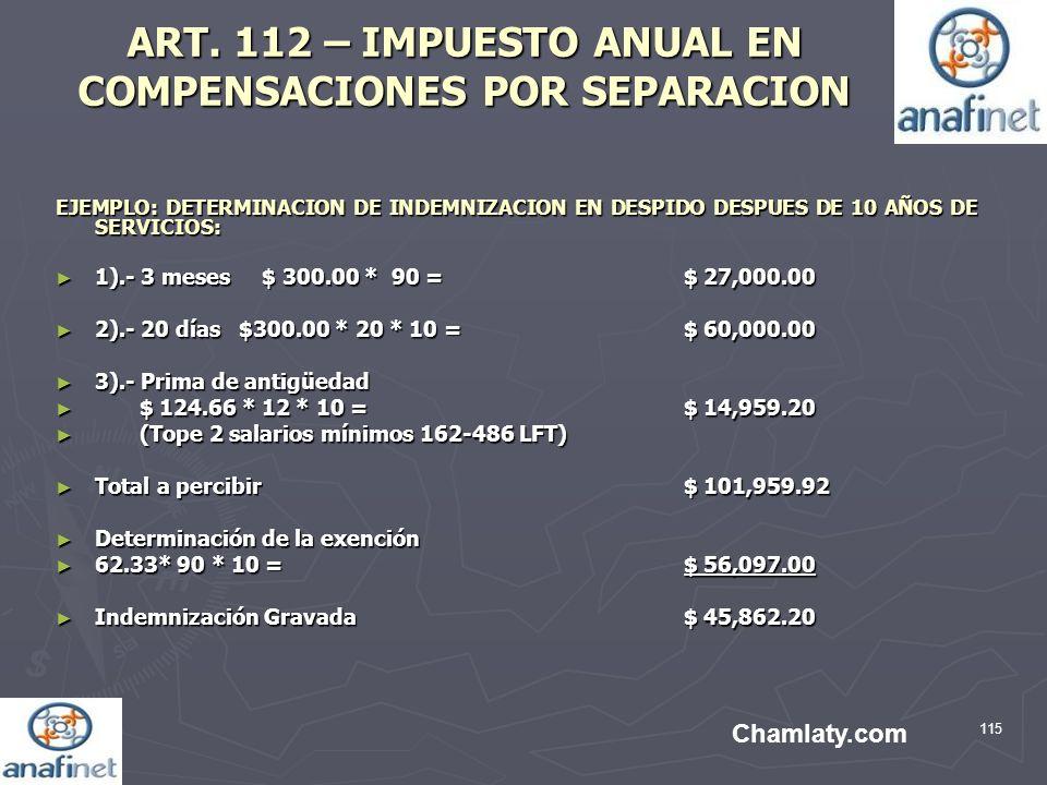 ART. 112 – IMPUESTO ANUAL EN COMPENSACIONES POR SEPARACION