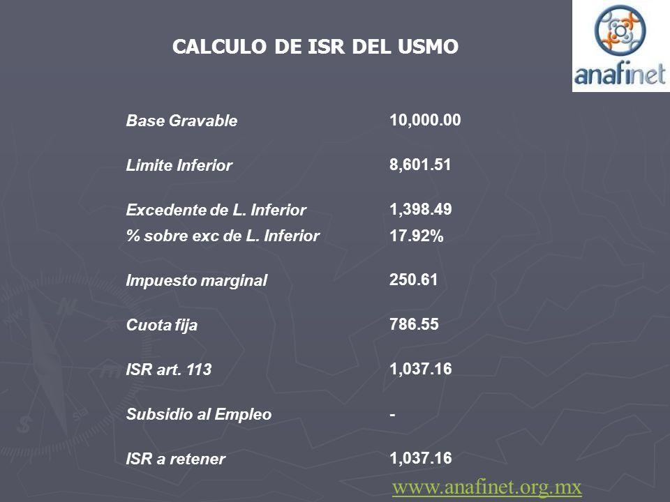 www.anafinet.org.mx CALCULO DE ISR DEL USMO Base Gravable 10,000.00