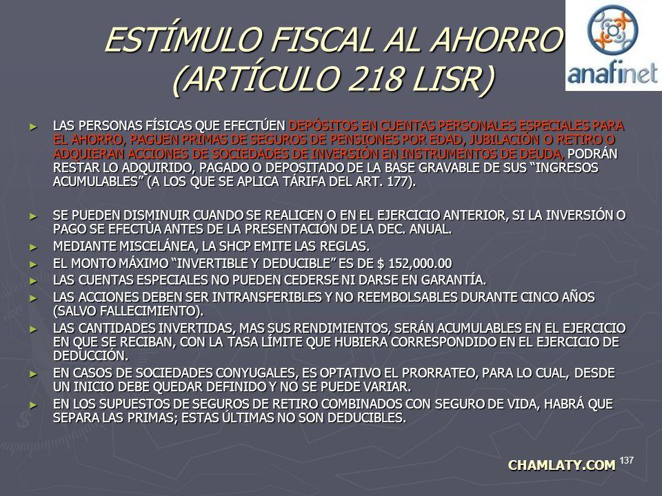ESTÍMULO FISCAL AL AHORRO (ARTÍCULO 218 LISR)