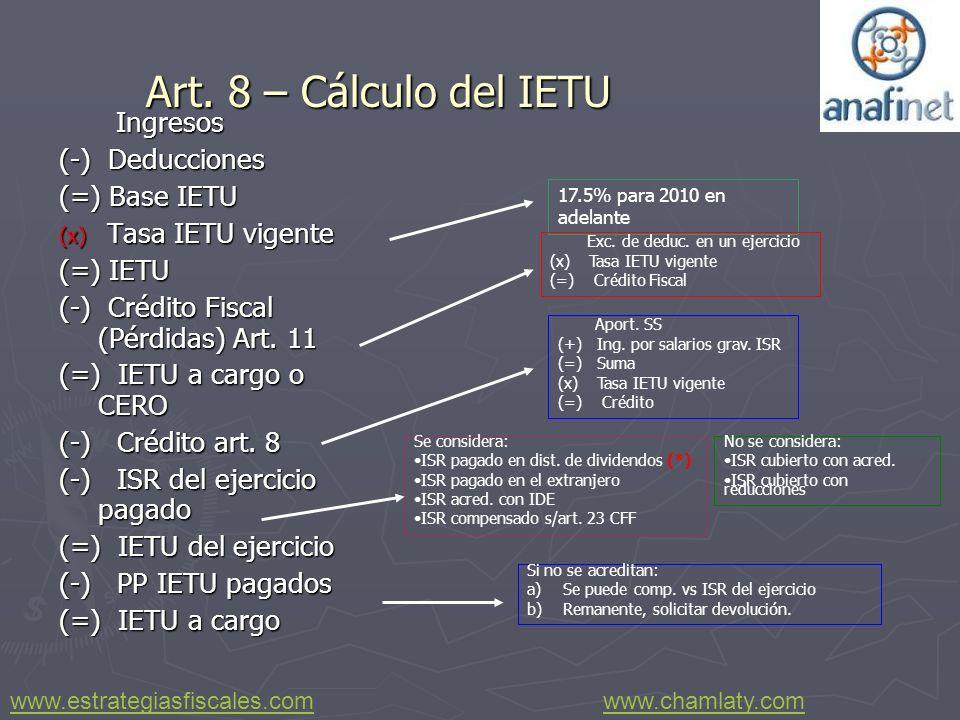 Art. 8 – Cálculo del IETU Ingresos (-) Deducciones (=) Base IETU