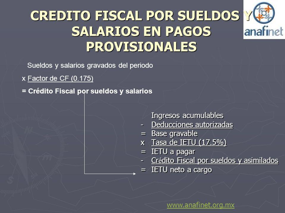 CREDITO FISCAL POR SUELDOS Y SALARIOS EN PAGOS PROVISIONALES