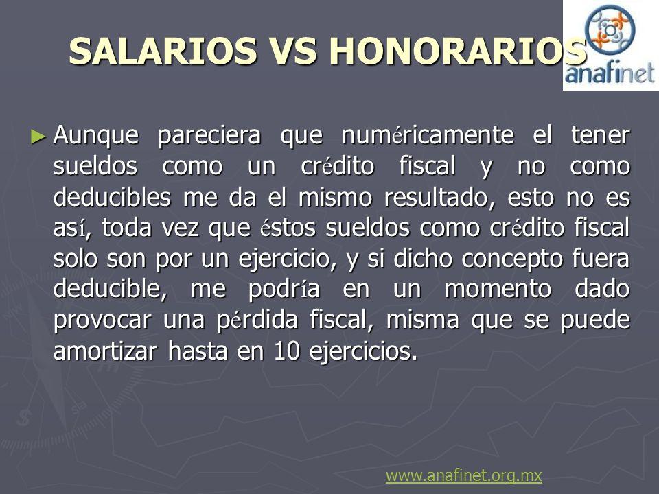 SALARIOS VS HONORARIOS