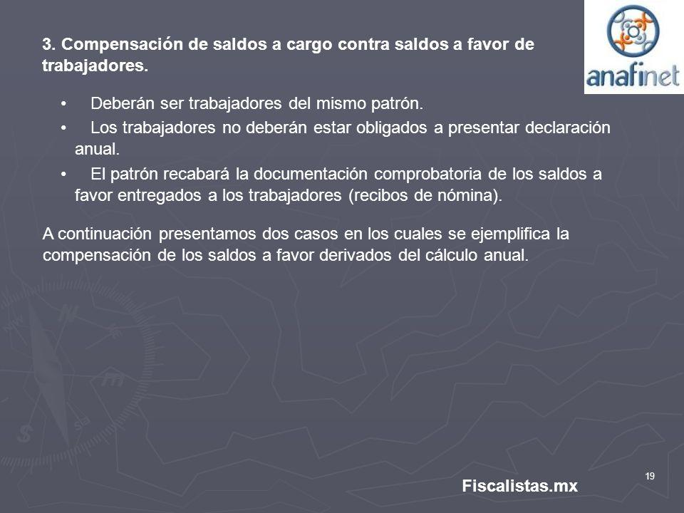 3. Compensación de saldos a cargo contra saldos a favor de trabajadores.