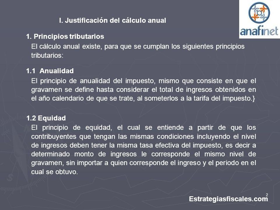 I. Justificación del cálculo anual