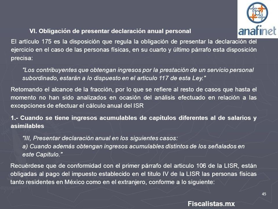 Fiscalistas.mx VI. Obligación de presentar declaración anual personal