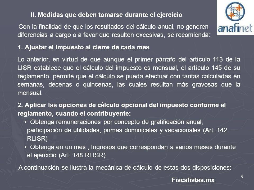 II. Medidas que deben tomarse durante el ejercicio