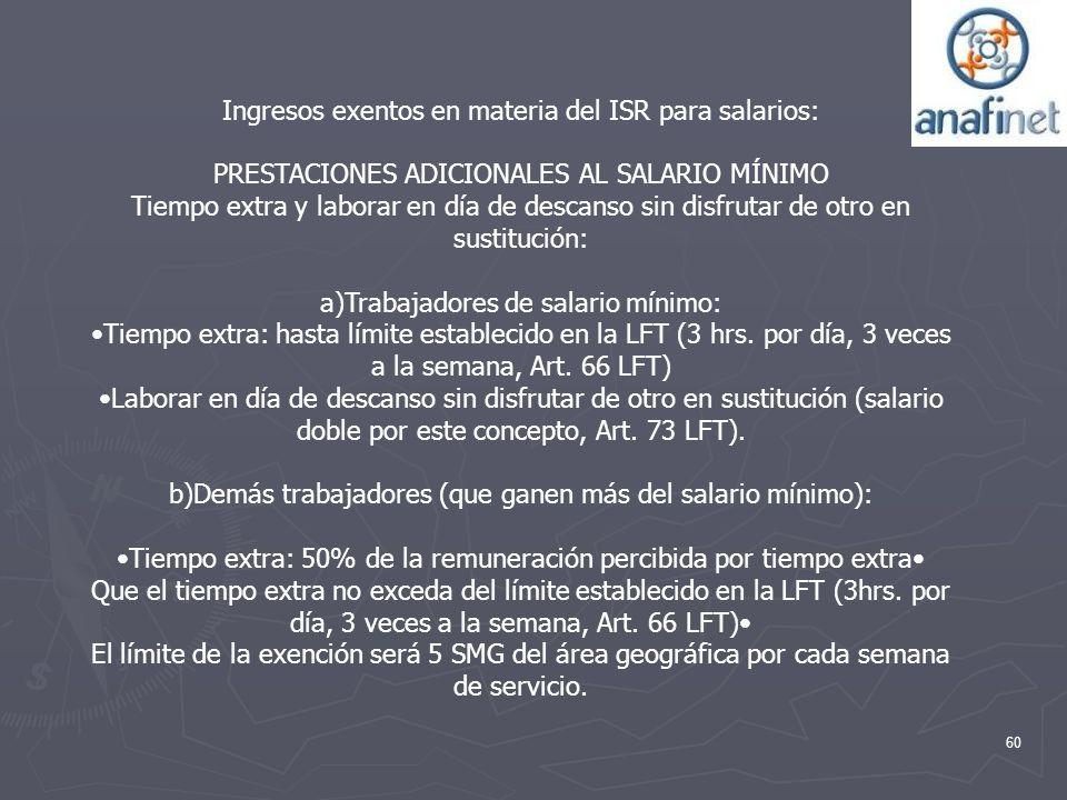 Ingresos exentos en materia del ISR para salarios: