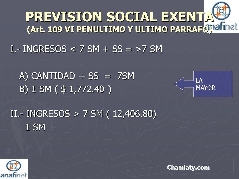PREVISION SOCIAL EXENTA (Art. 109 VI PENULTIMO Y ULTIMO PARRAFO)