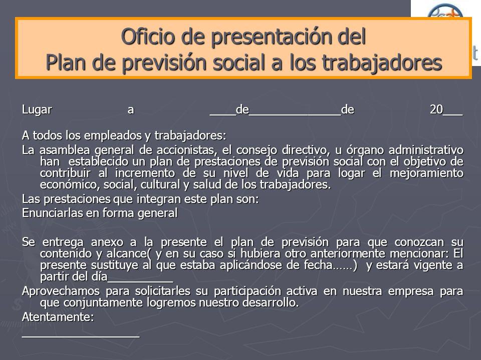 Oficio de presentación del Plan de previsión social a los trabajadores