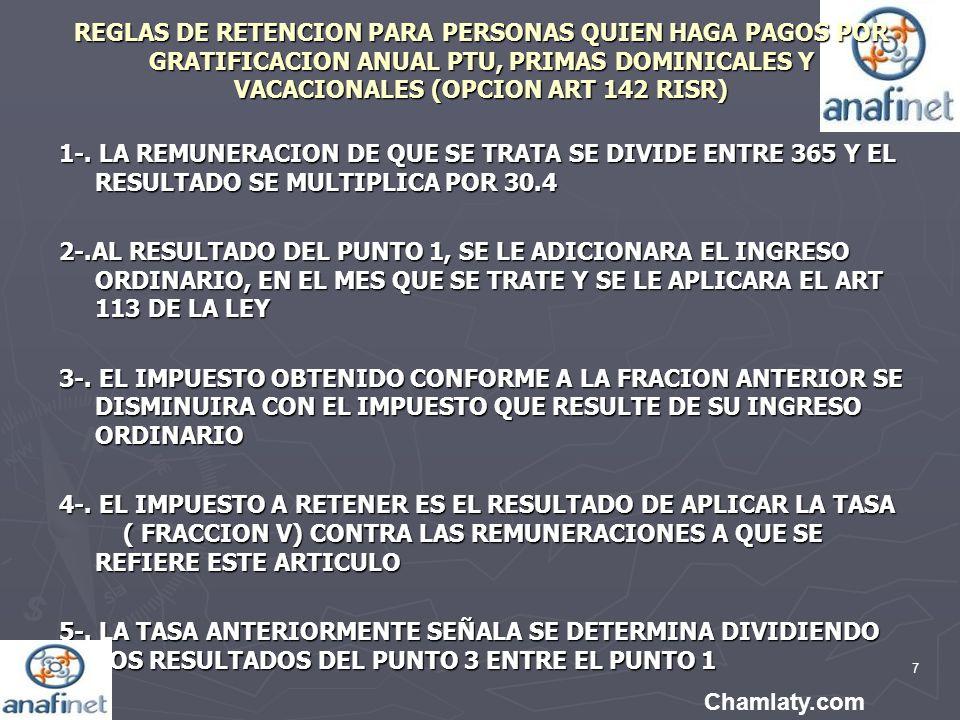 REGLAS DE RETENCION PARA PERSONAS QUIEN HAGA PAGOS POR GRATIFICACION ANUAL PTU, PRIMAS DOMINICALES Y VACACIONALES (OPCION ART 142 RISR)