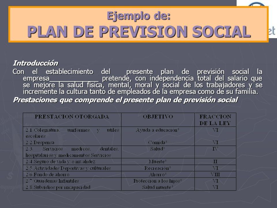 Ejemplo de: PLAN DE PREVISION SOCIAL