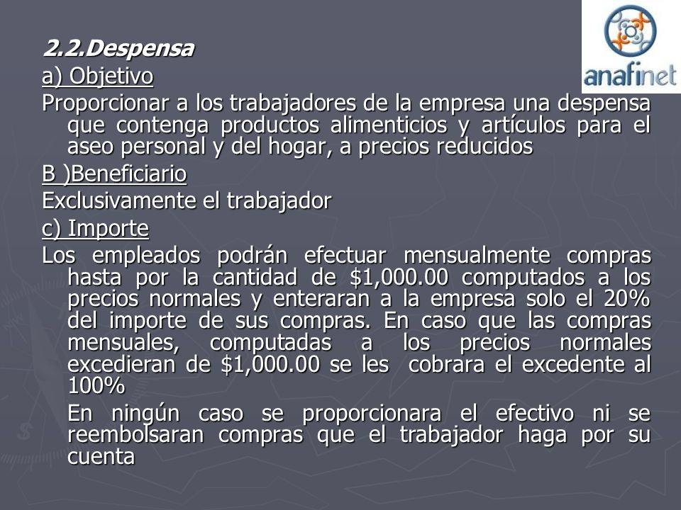 2.2.Despensa a) Objetivo.