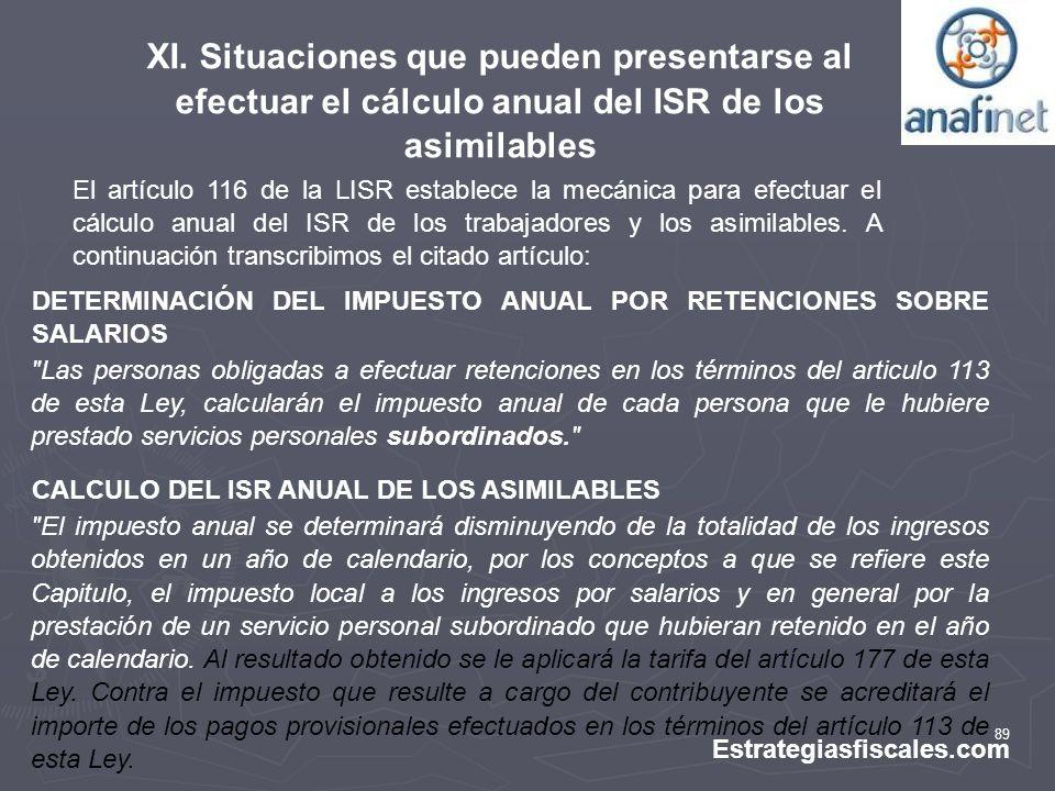 XI. Situaciones que pueden presentarse al efectuar el cálculo anual del ISR de los asimilables
