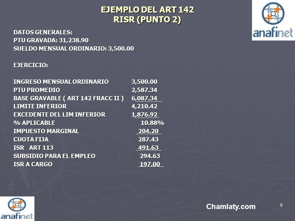 EJEMPLO DEL ART 142 RISR (PUNTO 2)