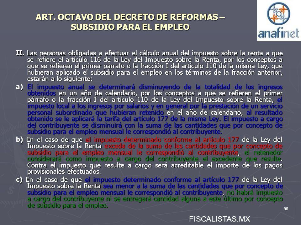 ART. OCTAVO DEL DECRETO DE REFORMAS – SUBSIDIO PARA EL EMPLEO