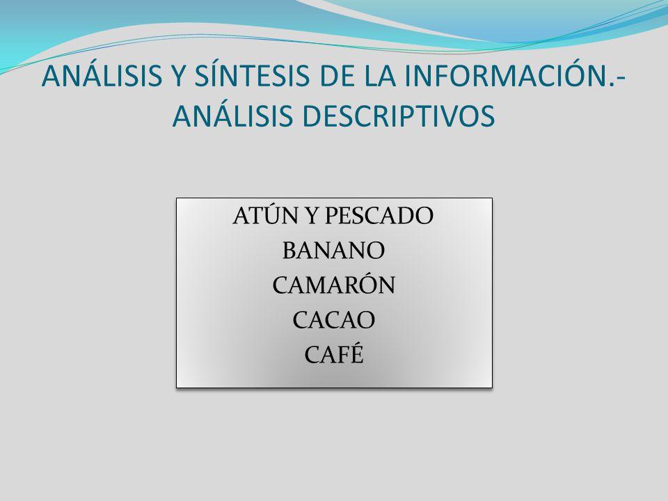 ANÁLISIS Y SÍNTESIS DE LA INFORMACIÓN.- ANÁLISIS DESCRIPTIVOS