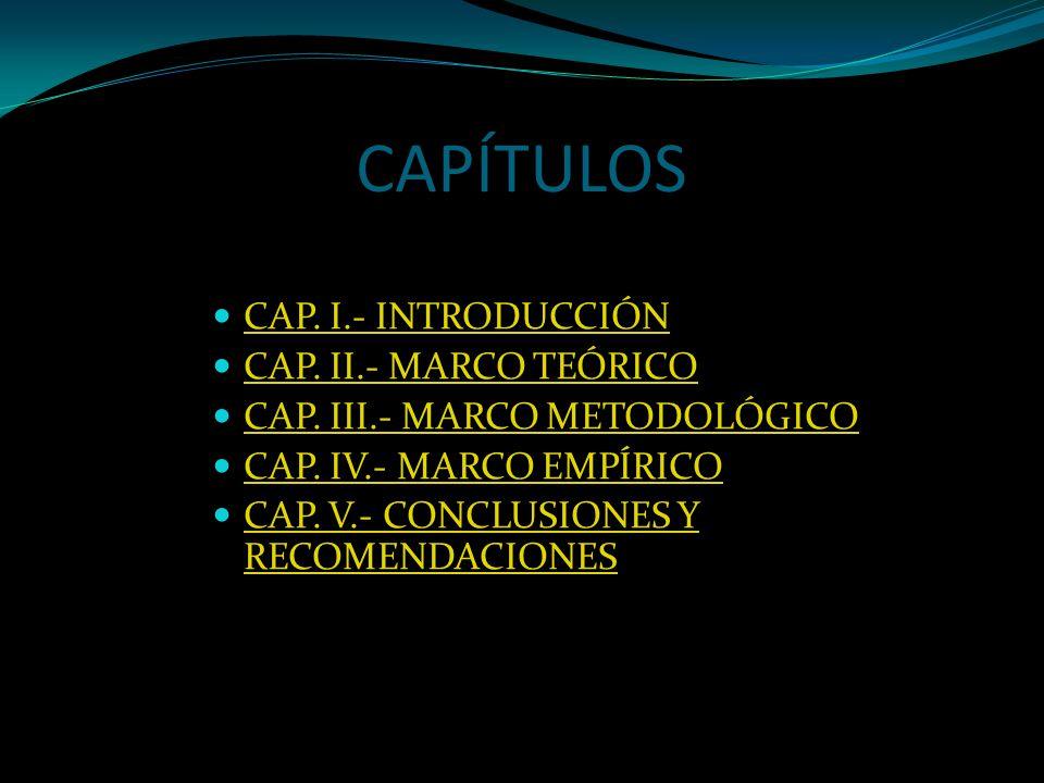 CAPÍTULOS CAP. I.- INTRODUCCIÓN CAP. II.- MARCO TEÓRICO