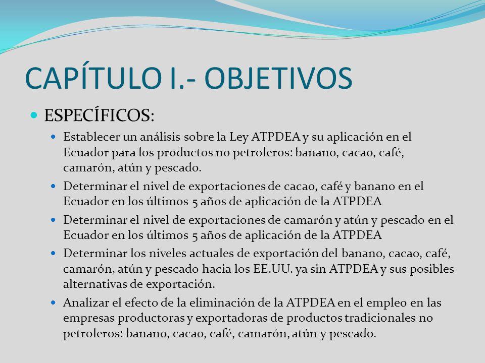 CAPÍTULO I.- OBJETIVOS ESPECÍFICOS: