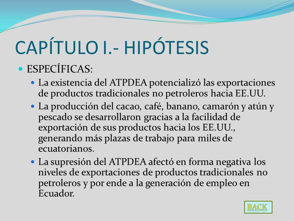 CAPÍTULO I.- HIPÓTESIS ESPECÍFICAS: