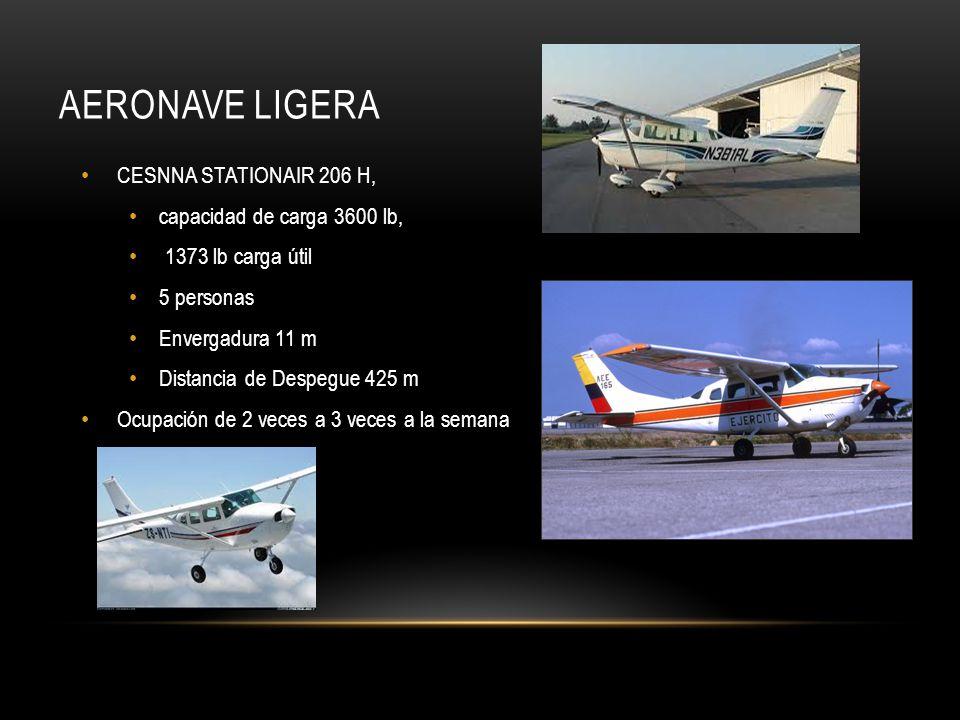 Aeronave ligera CESNNA STATIONAIR 206 H, capacidad de carga 3600 lb,