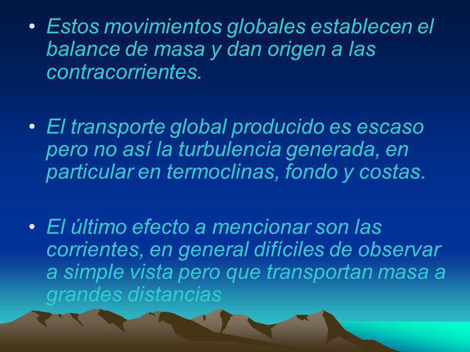 Estos movimientos globales establecen el balance de masa y dan origen a las contracorrientes.