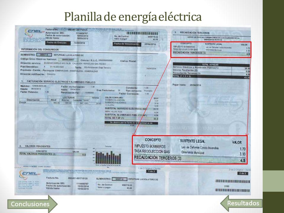 Planilla de energía eléctrica