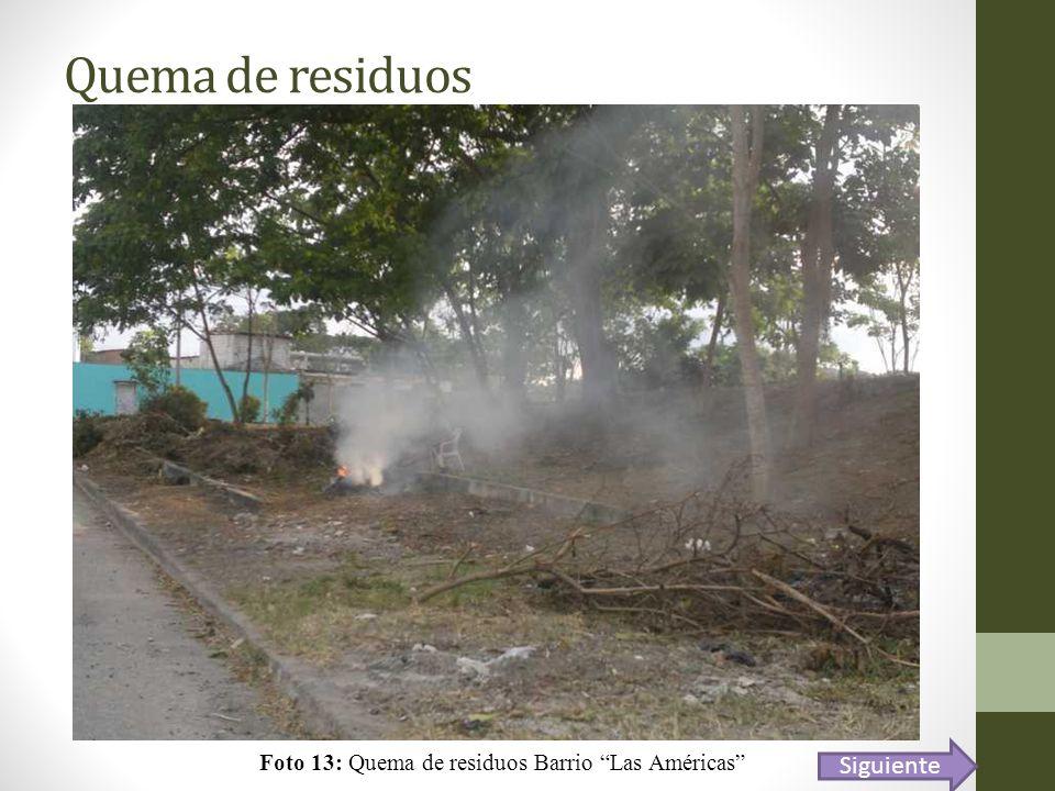 Foto 13: Quema de residuos Barrio Las Américas