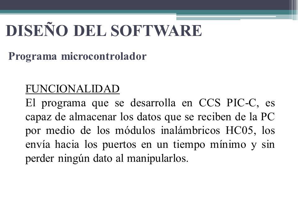 DISEÑO DEL SOFTWARE Programa microcontrolador FUNCIONALIDAD