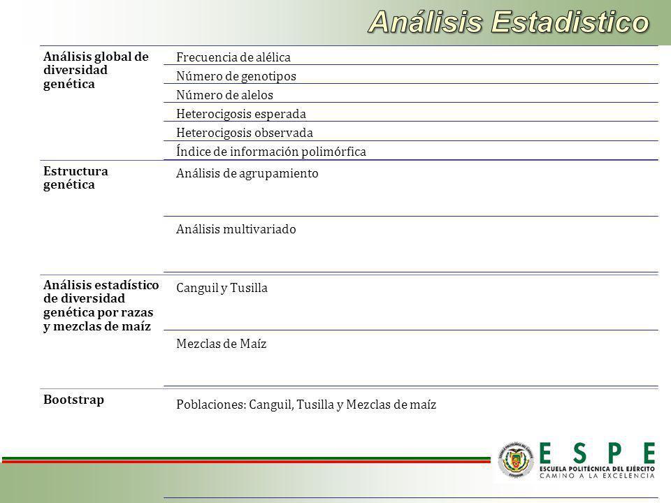 Análisis Estadistico Análisis global de diversidad genética
