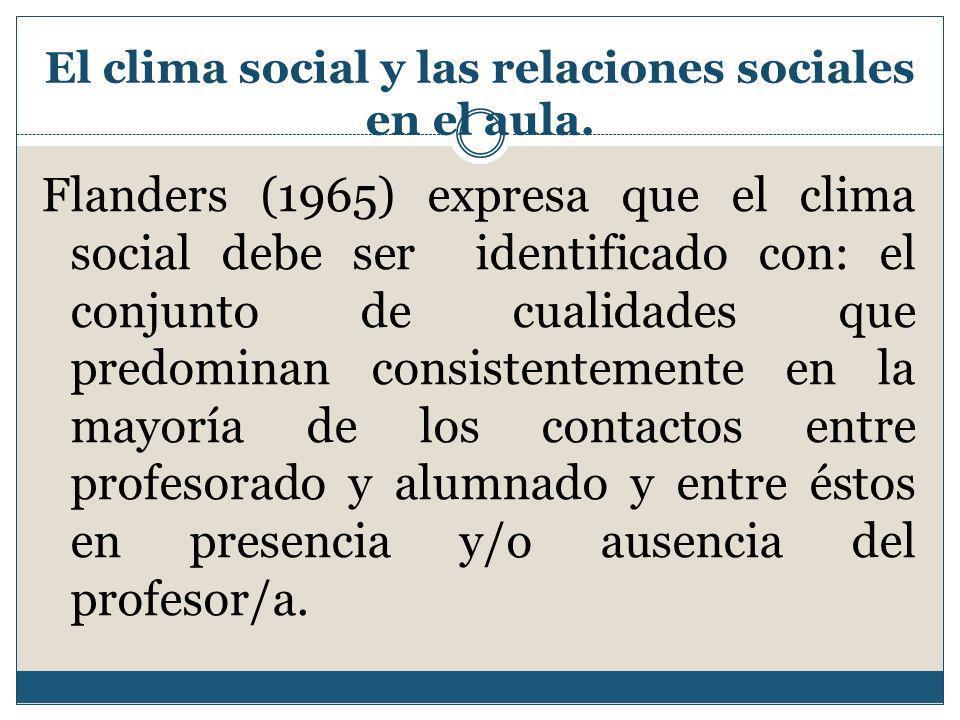 El clima social y las relaciones sociales en el aula.