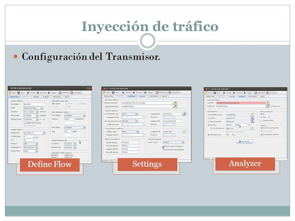 Inyección de tráfico Configuración del Transmisor. Define Flow