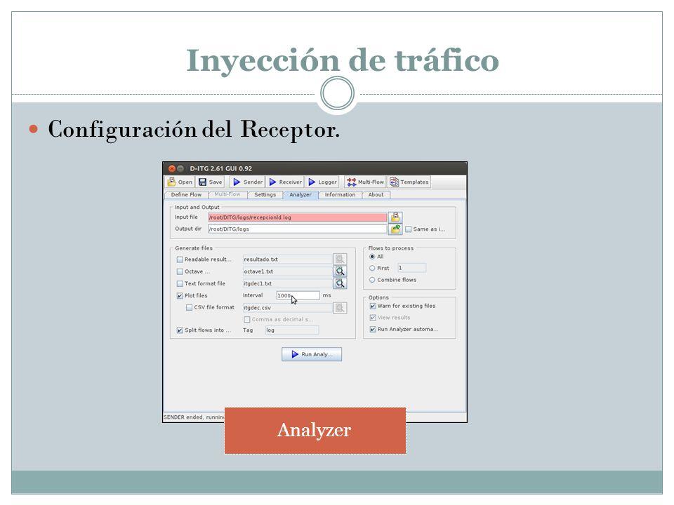 Inyección de tráfico Configuración del Receptor. Analyzer