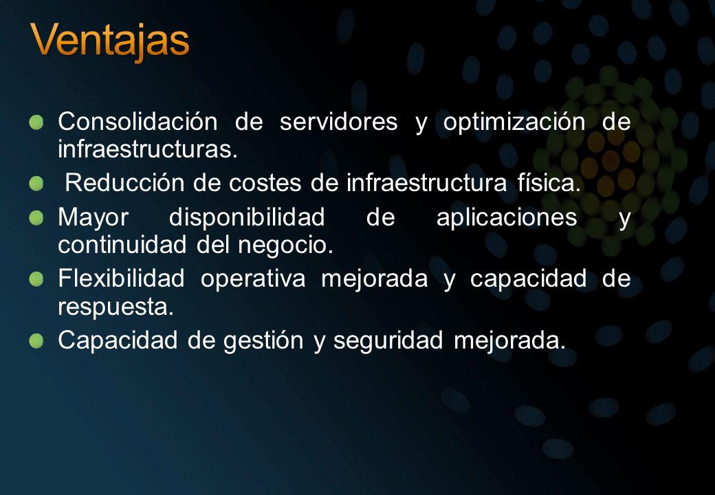 Ventajas Consolidación de servidores y optimización de infraestructuras. Reducción de costes de infraestructura física.