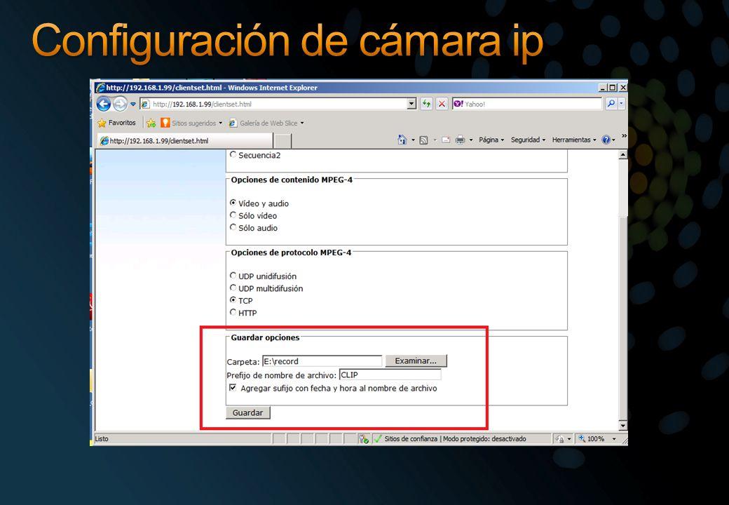 Configuración de cámara ip