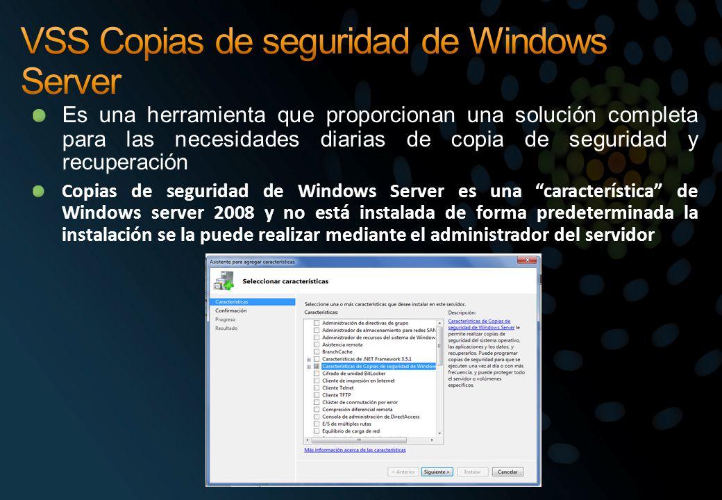 VSS Copias de seguridad de Windows Server
