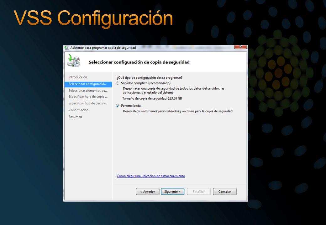VSS Configuración