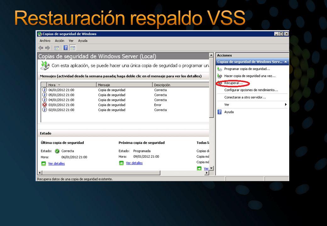 Restauración respaldo VSS