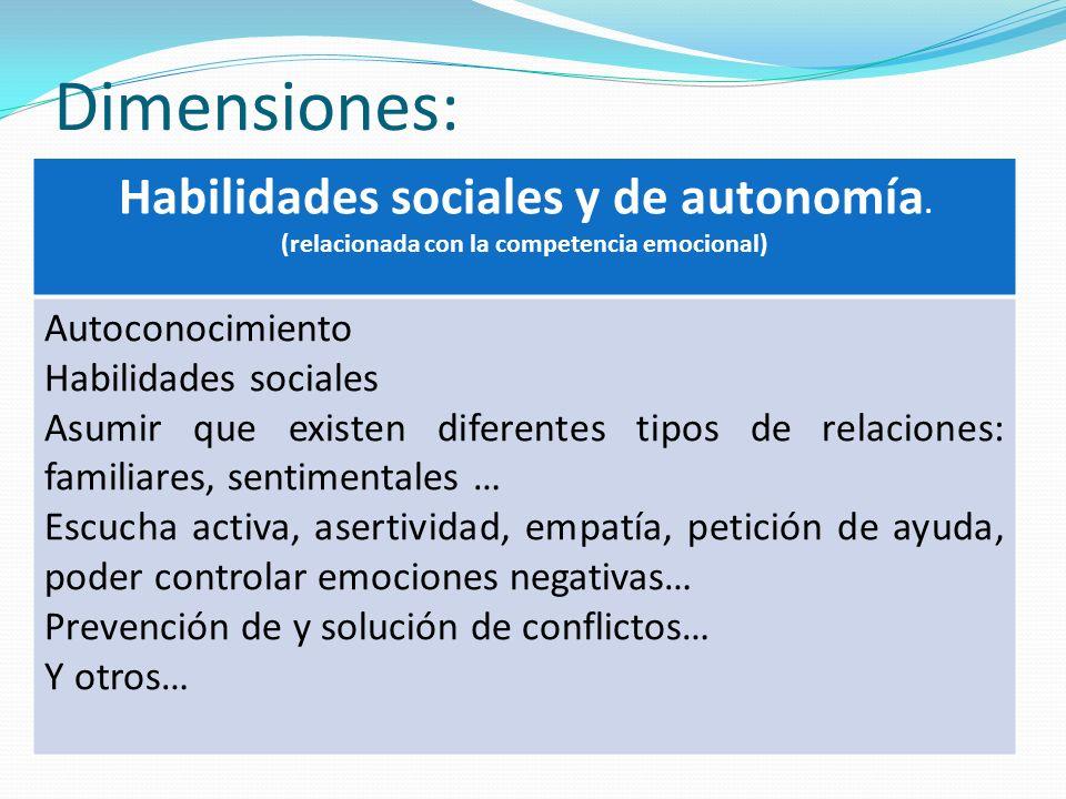 Dimensiones: Habilidades sociales y de autonomía. Autoconocimiento