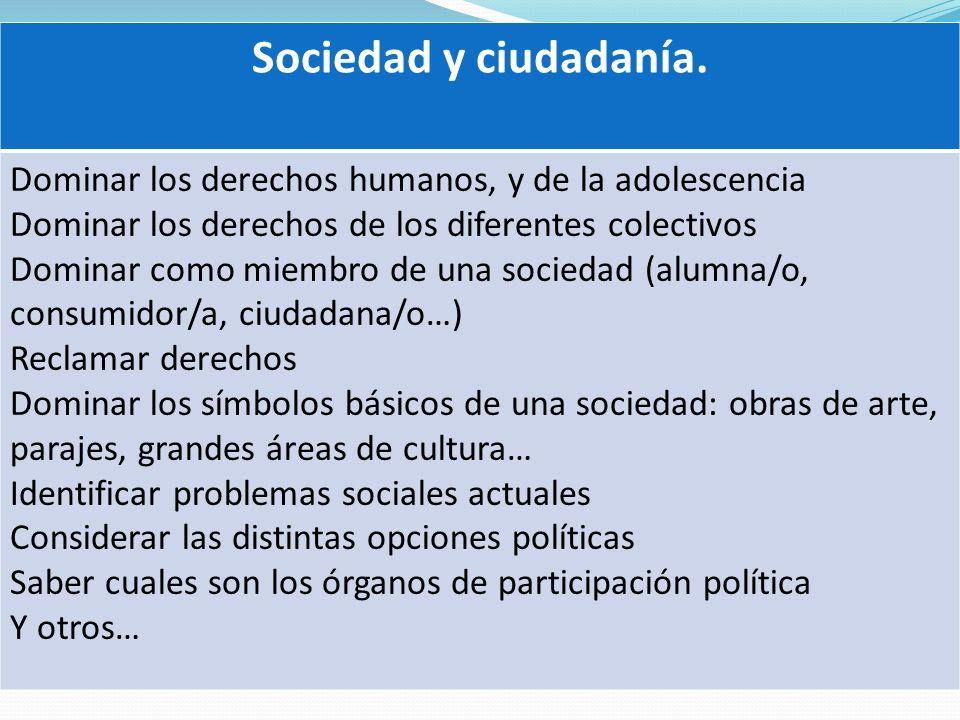 Sociedad y ciudadanía. Dominar los derechos humanos, y de la adolescencia. Dominar los derechos de los diferentes colectivos.