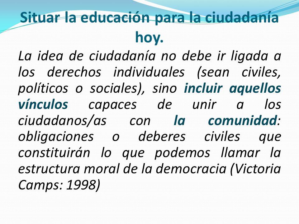 Situar la educación para la ciudadanía hoy.